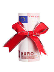 Ten Euros wrapped by ribbon isolated on white