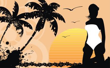 tropical hawaii girl background2