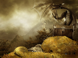 Papiers peints Dragons Sceneria fantasy ze smokiem i górą złota