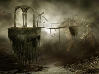 Wall Murals Dragons Wiszący most na latających skałach