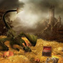 Wall Murals Dragons Sceneria fantasy ze smokiem, skarbem i zamkiem