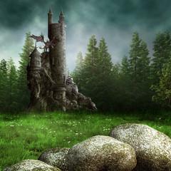 Wall Murals Dragons Zamek fantasy w lesie