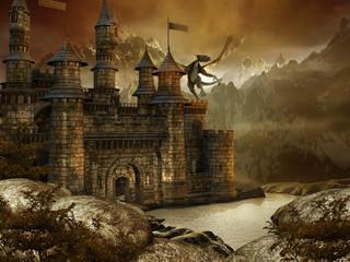 Wall Murals Dragons Zamek fantasy w górach nad jeziorem