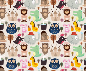 cartoon animal seamless pattern
