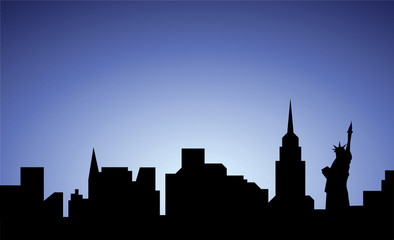 silhouette of New-York city, USA, vector