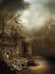 Wall Murals Dragons Zamek w górach
