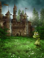 Wall Murals Dragons Baśniowy zamek na łące