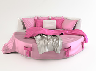 Bed with pillows and covers. Gift.