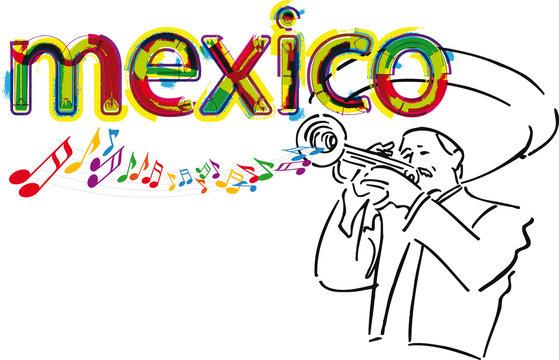 Mexican Mariachi. Vector illustration.