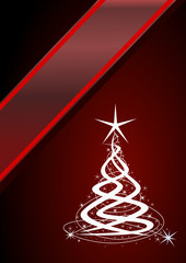 Christmas tree, red background with stars