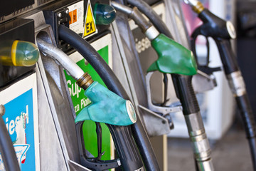 Gas pumps on the petrol stop.