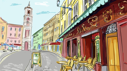 Aluminium Prints Drawn Street cafe illustration. street - facades of old houses