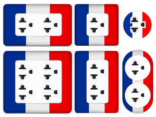 set of France electrical outlet isolated on white background