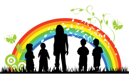 Poster Rainbow vector children silhouettes and rainbow