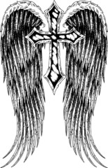 heraldic tribal cross with wing