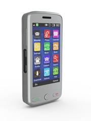 Metallic mobile phone. 3d