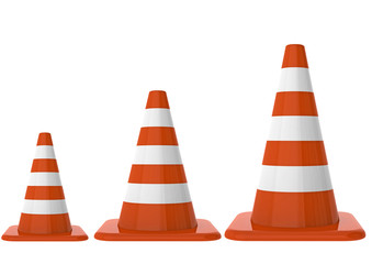 Traffic cones on different size