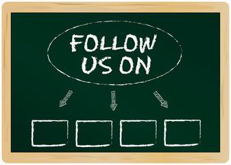 Social network concept, template follow us on ...., vector