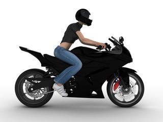Keuken foto achterwand Motorfiets woman on a black motorcycle