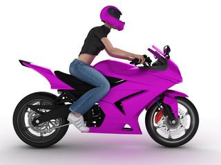 Keuken foto achterwand Motorfiets woman on a motorcycle