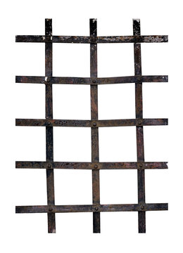 Old iron window bars - prison, security, isolated over white