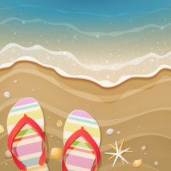 Wall Mural - Flip-flops and shells on the beach