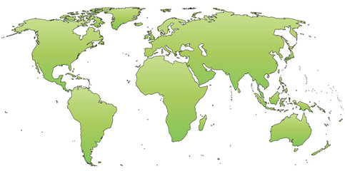 Green world map isolated.