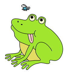 Fat frog waiting for fly. Funny cartoon illustration.