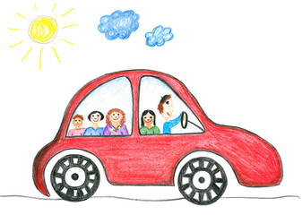 Happy family on the car trip, child's drawing.
