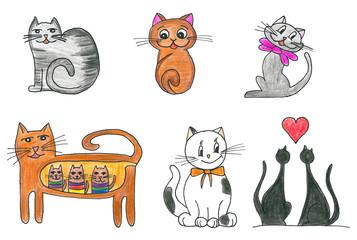 Cute cats set, hand drawn illustration.