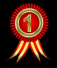 Number one, golden winner ribbon