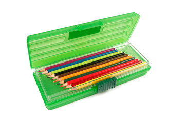 Pencil crayons in a stationery box