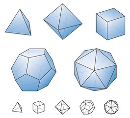 Platonic solids with blue surfaces. Regular, convex polyhedrons in Euclidean geometry. Tetrahedron, hexahedron, octahedron, dodecahedron and icosahedron. Isolated illustration on white background.