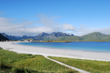 Ramberg Beach in Lofoten islands in Norway