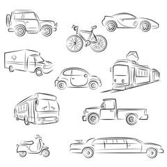 City Transportation Sketch Set