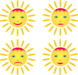 4 smiley sun with emotion