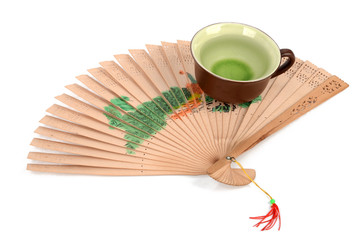 Chinese tea and fan