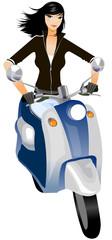 Keuken foto achterwand Motorfiets Close-up of woman riding scooter