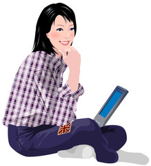 Close-up of woman holding laptop