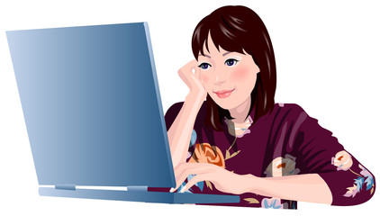 Close-up of woman sitting by laptop