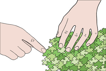 human hands assembling green puzzle vector