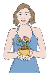 girl in blue shirt with potted plant vector