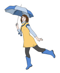 girl with umbrella jumping, vector