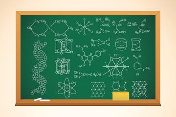chemistry school background with blackboard and symbols on it, v