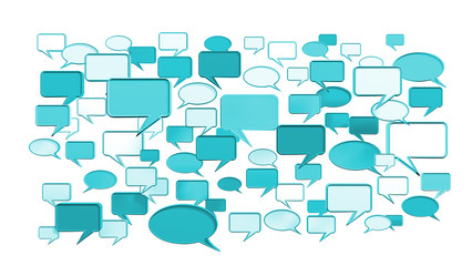 Blue conversation icons