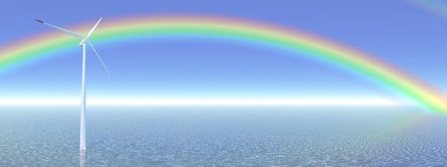Rainbow and wind turbine