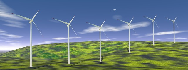 Wind turbines in nature