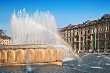 Fountain square castle with rainbow milan expo