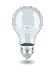 Vector bulb over white background