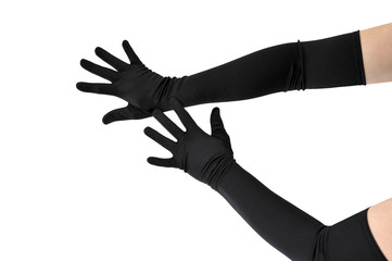 Woman arms with long black gloves